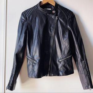 H&M black faux vegan leather Moto jacket 10